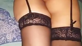 Indian Bengali Wife Jeanette relaxing in stockings
