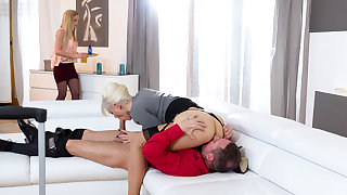 Stepmom having a 3some with a stepdaughter coupled with her BF