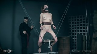 Tattooed nightfall darkness slave Kate Kennedy tortured with a bag over her head