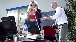 Boss lady Julie Cash fucked in the office unconnected with her male assistant