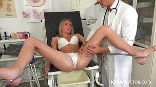 Virgin blonde girl, Claudia Macc is often fucking her doctor in his office, because she likes him