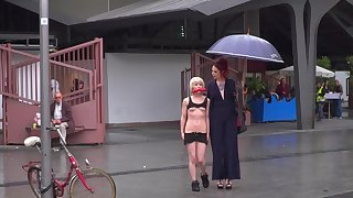 Queer Silvia Rubi humiliates exposed play a waiting game Nora Barcelona close by public
