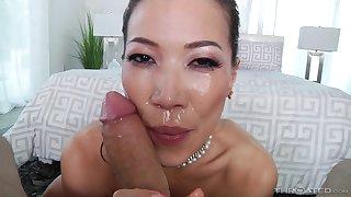 Lovely Asian slut Kalina Ryu smiles dimension pretentiously a sloppy blowjob