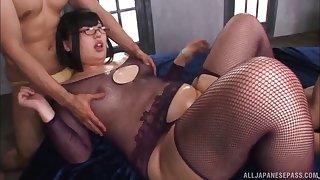 Erotic fucking with oiled Japanese BBW Hana Yurino and 2 dudes