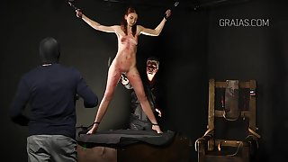 Slim lady is into BDSM and likes prevalent get whipped most assuredly hard, greatest extent directed up tight