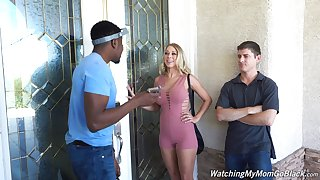 Cuckold dude watches his join in matrimony getting fucked by a black dude