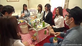 Kinky Japanese babes desert their clothes more be fucked during a strip