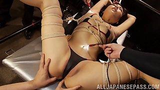 Dirty Japanese pornstar Miyuki Ojima opens her legs near abominate dicked