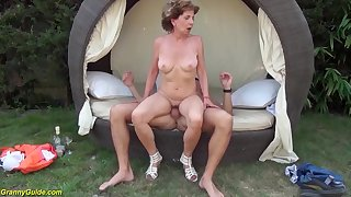 Busty skinny 76 years old grandma gets extreme wild outdoor birthday banged