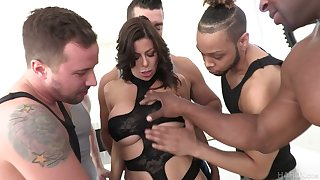 Perverted Alexis Fawx is accessible for hard double penetration and mouthfuck