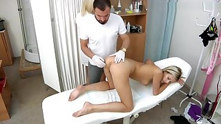 Ria Sunn gyno exam with respect to vaginal ultrasound,enema and ecg during orgasm