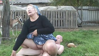 Horny granny takes cum in brashness after getting will not hear of hurricane thrilled hardcore outdoors