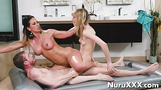 Oil Nuru Trio Massage with young ebony and blonde aj applegate