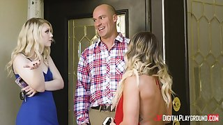 Triumvirate shagging with two blondes : Lily Rader and Cali Carter