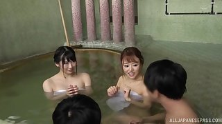 Foursome fucking between two dudes and two HOT Japanese babes