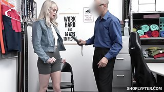 Pretty blond student Lilly Bell gets punished for shoplifting