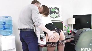 Secretary gets laid nearly the new guy convulsion swallows his jizz