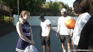 Black basketball team is face shafting white cheerleader Arietta Adams